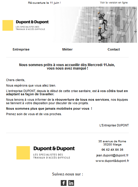 Exemple e-mailing